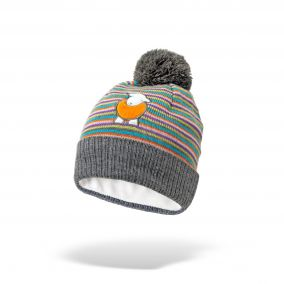 Kid's Multi-Coloured Striped Bobble Hat