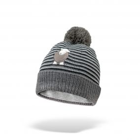 Kid's Grey Striped Bobble Hat