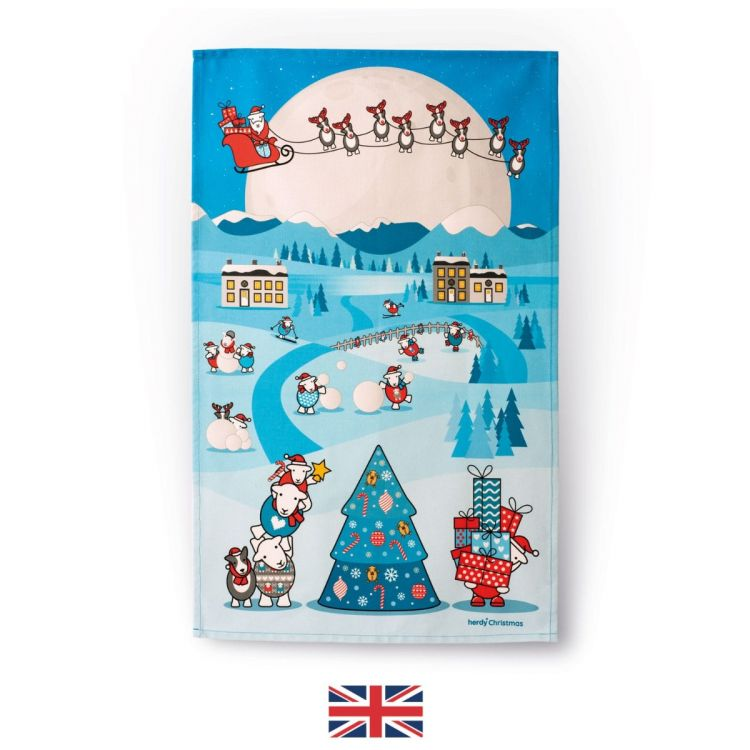 Herdy Christmas Tea Towel