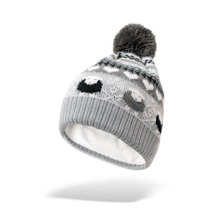 Grey Fair Isle Bobble Hat