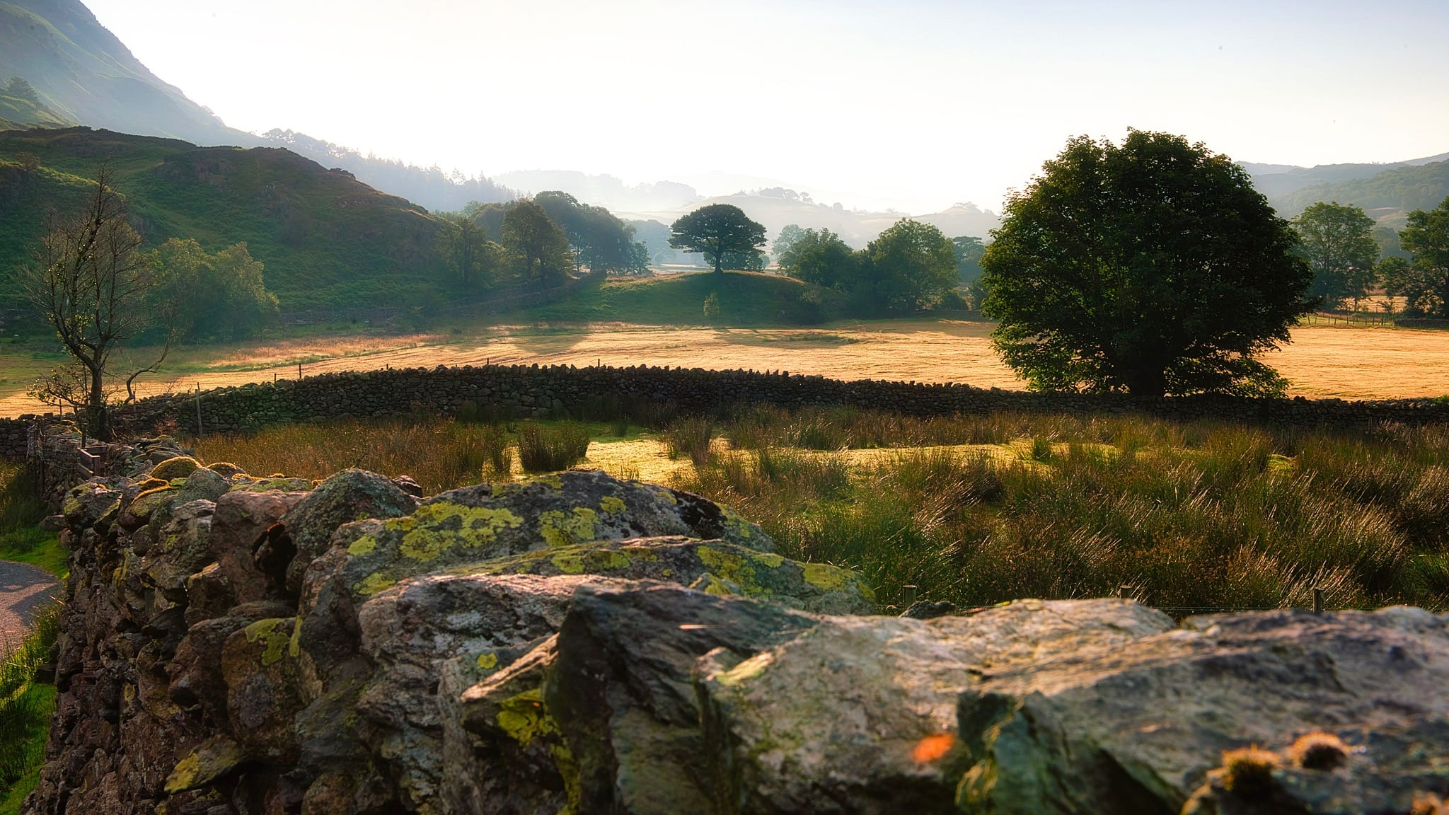 A golden sunset of layers of Lake District land, separated by dry stone walls