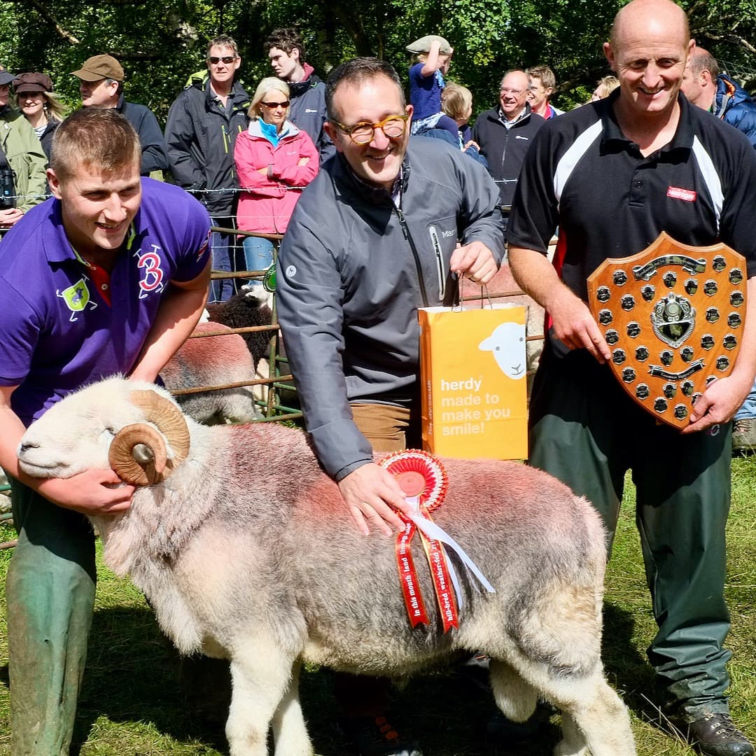 Robby & Peter Bland—from Knott Houses Farm, Grasmere; winners of the Prize Herdwick Tup category