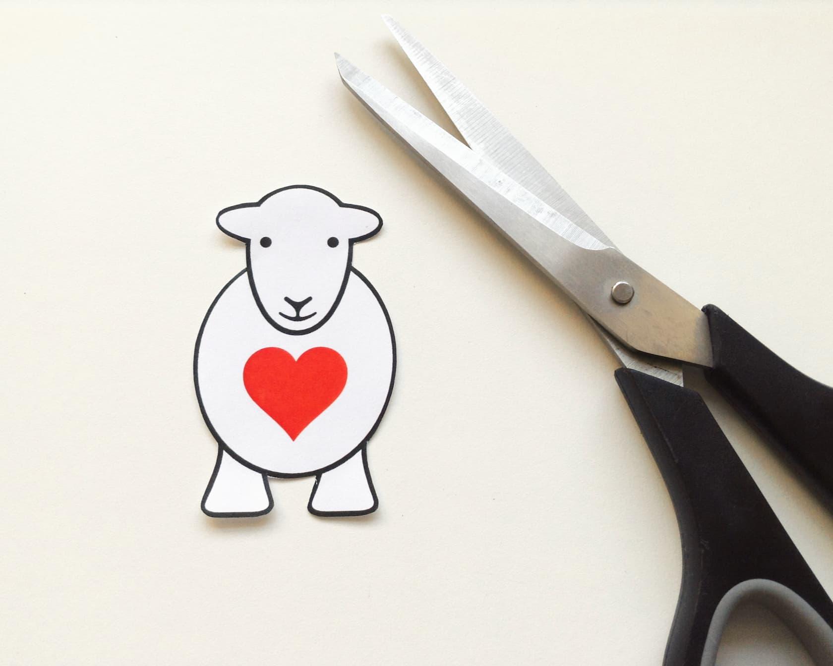 Cut out the Herdy Yan Love Ewe shape