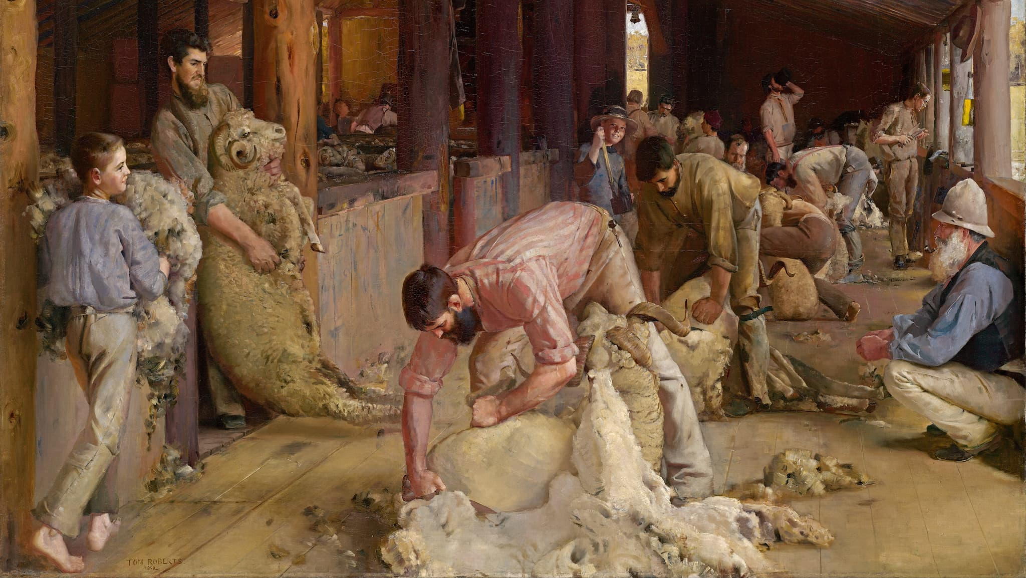 """Shearing the rams"" (1890), oil on canvas on composition board by Tom Roberts."