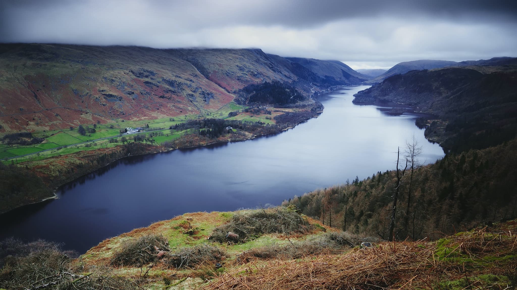 The view from Raven Crag, looking down to Thirlmere and the Helvellyn massif
