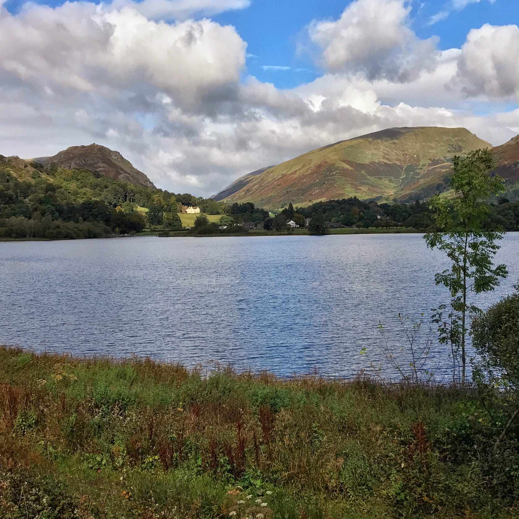A view across Grasmere lake on a blue sky and puffy clouds day, with Helm Crag on the left and Seat Sandal on the right