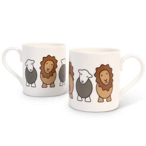 The Lion & the Lamb mug, by the Herdy Company, using English fine bone china