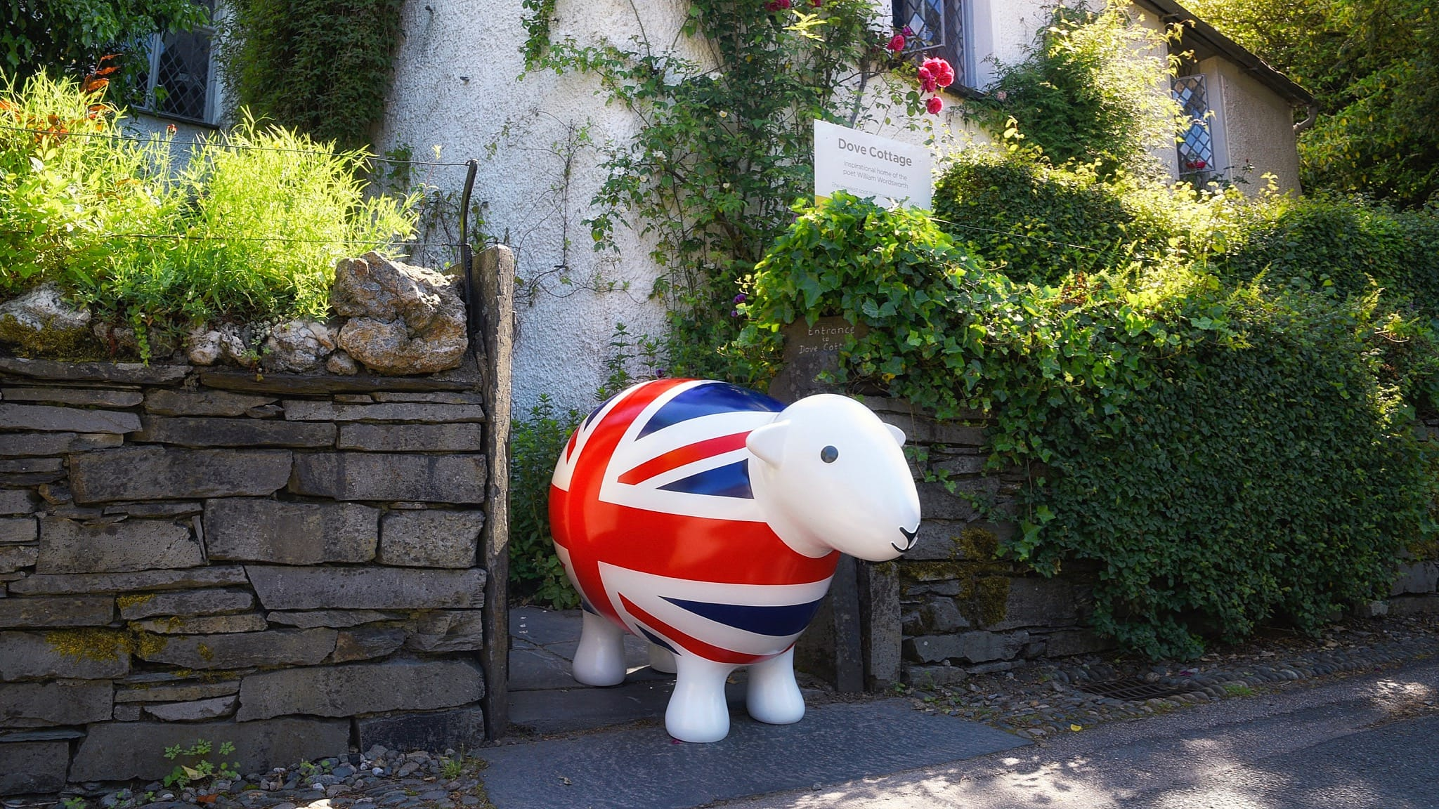 Giant GB Herdy outside Dove Cottage, the former home of the Wordsworth family