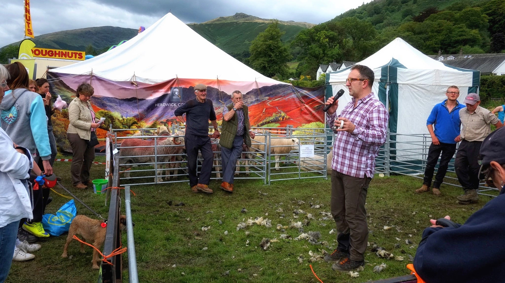 Spencer Hannah of the Herdy Company gives a talk at the Herdwick Sheep Breeders Association area to a crowd