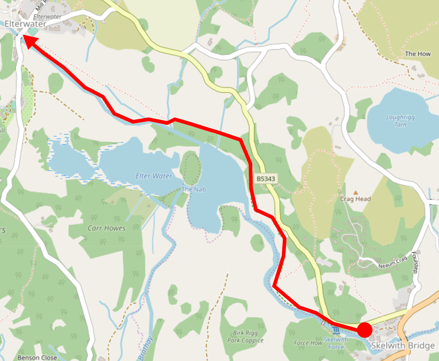 Map showing the walk from Skelwith Bridge to Elterwater village