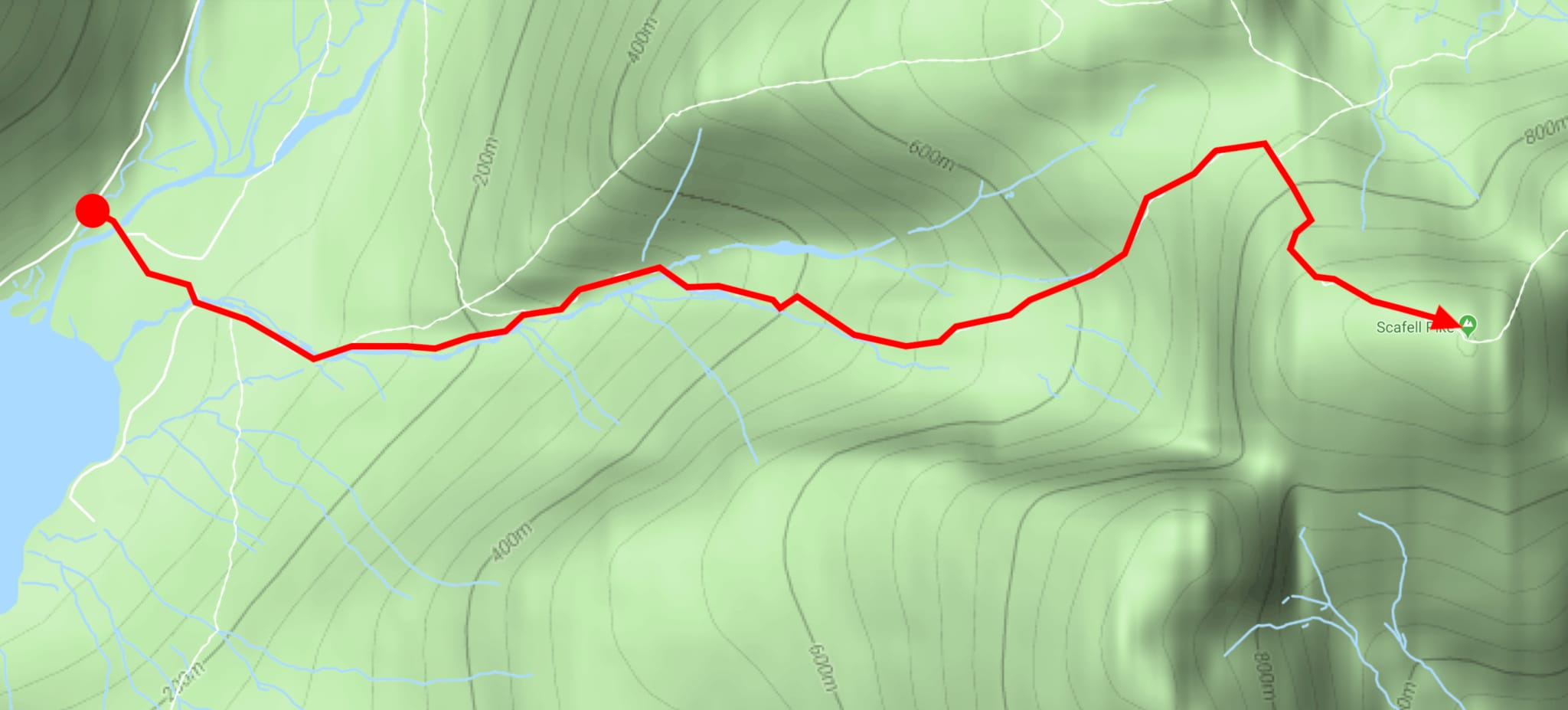 The route to the summit of Scafell Pike from the National Trust Wasdale Head campsite.