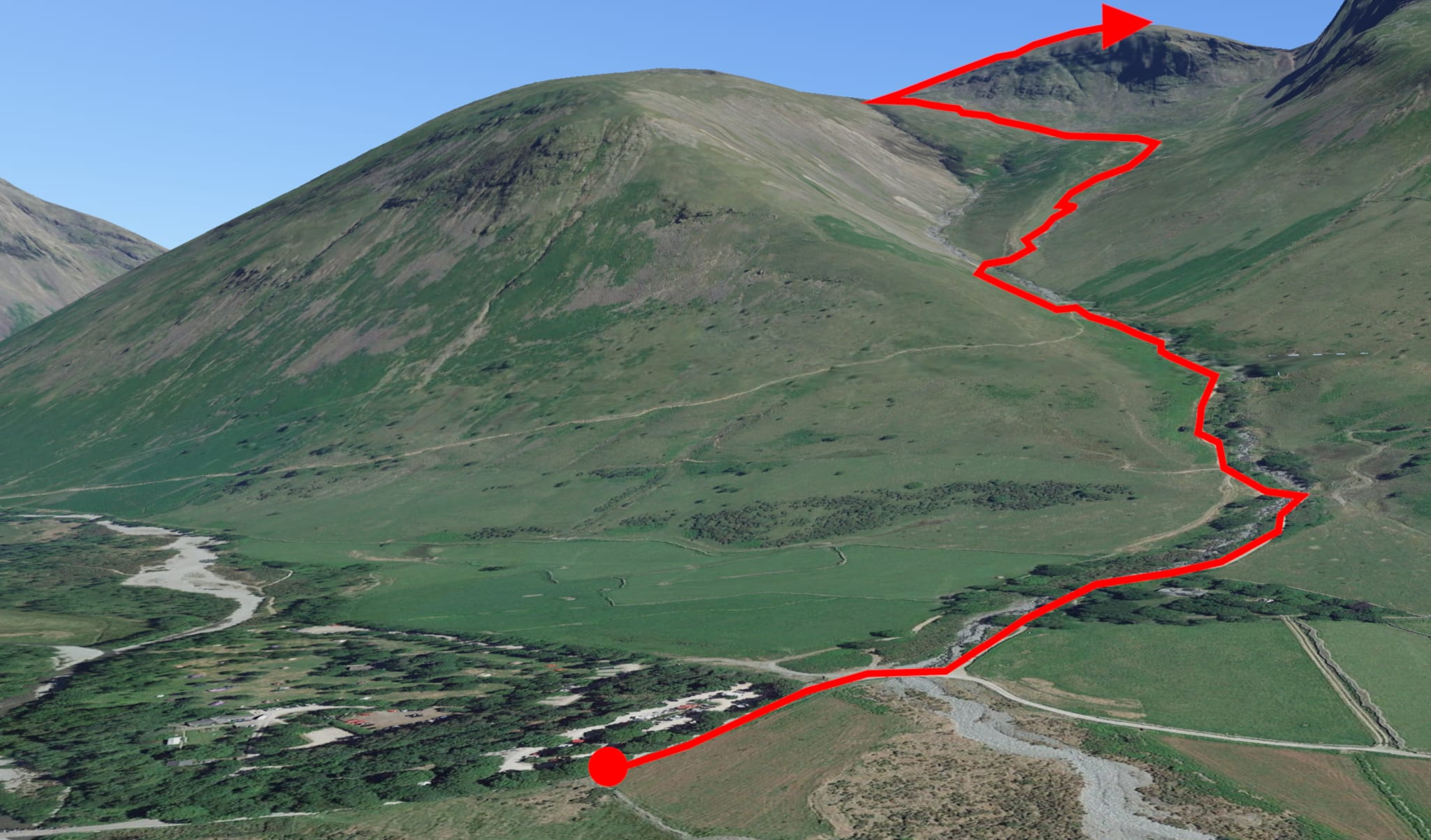 A 3D satellite image showing the route to the summit of Scafell Pike from the National Trust Wasdale Head campsite.