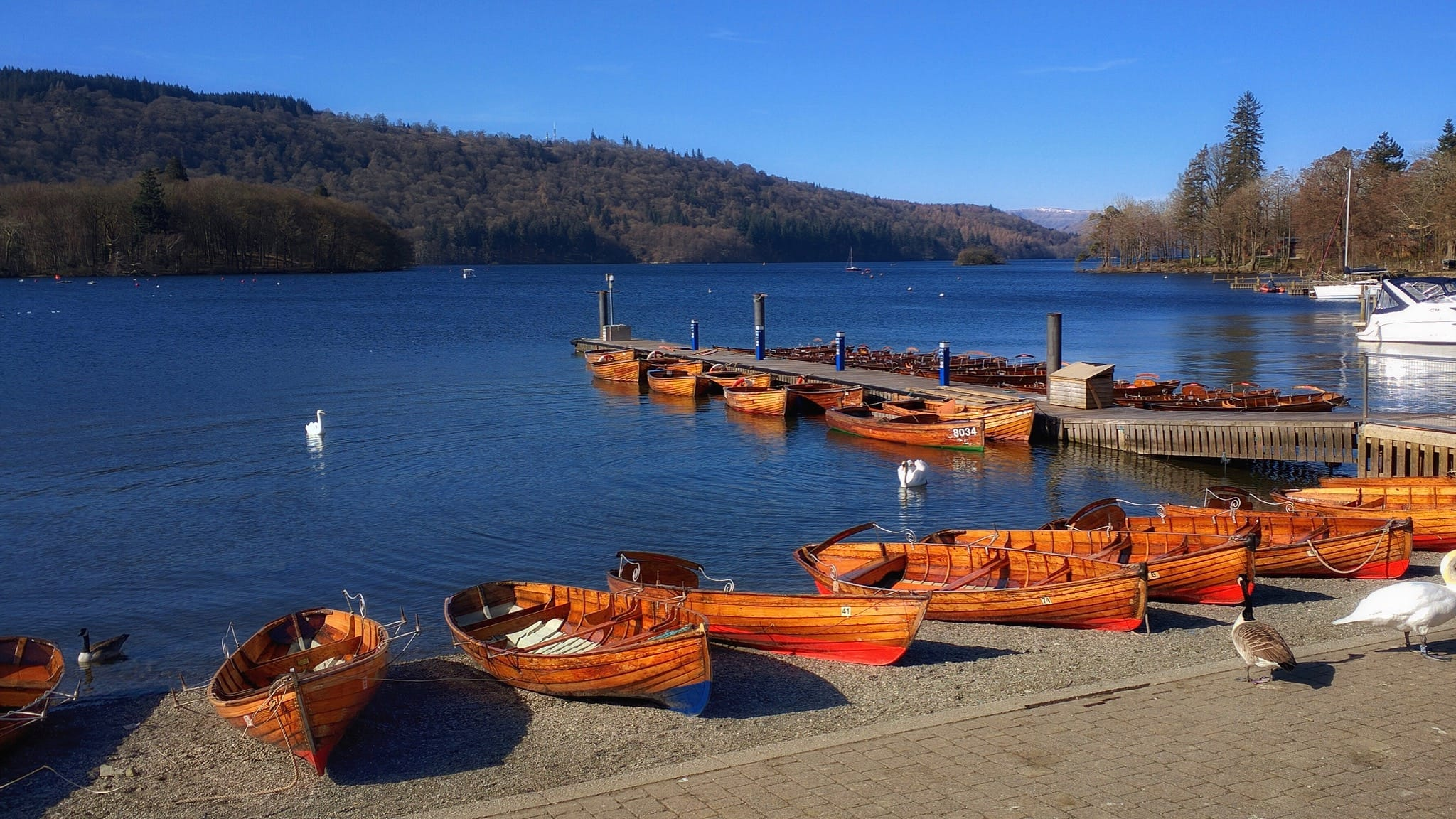 A view of lake Windermere from Bowness Pier, with lots of small wooden boats moored up, on a clear blue sky day.