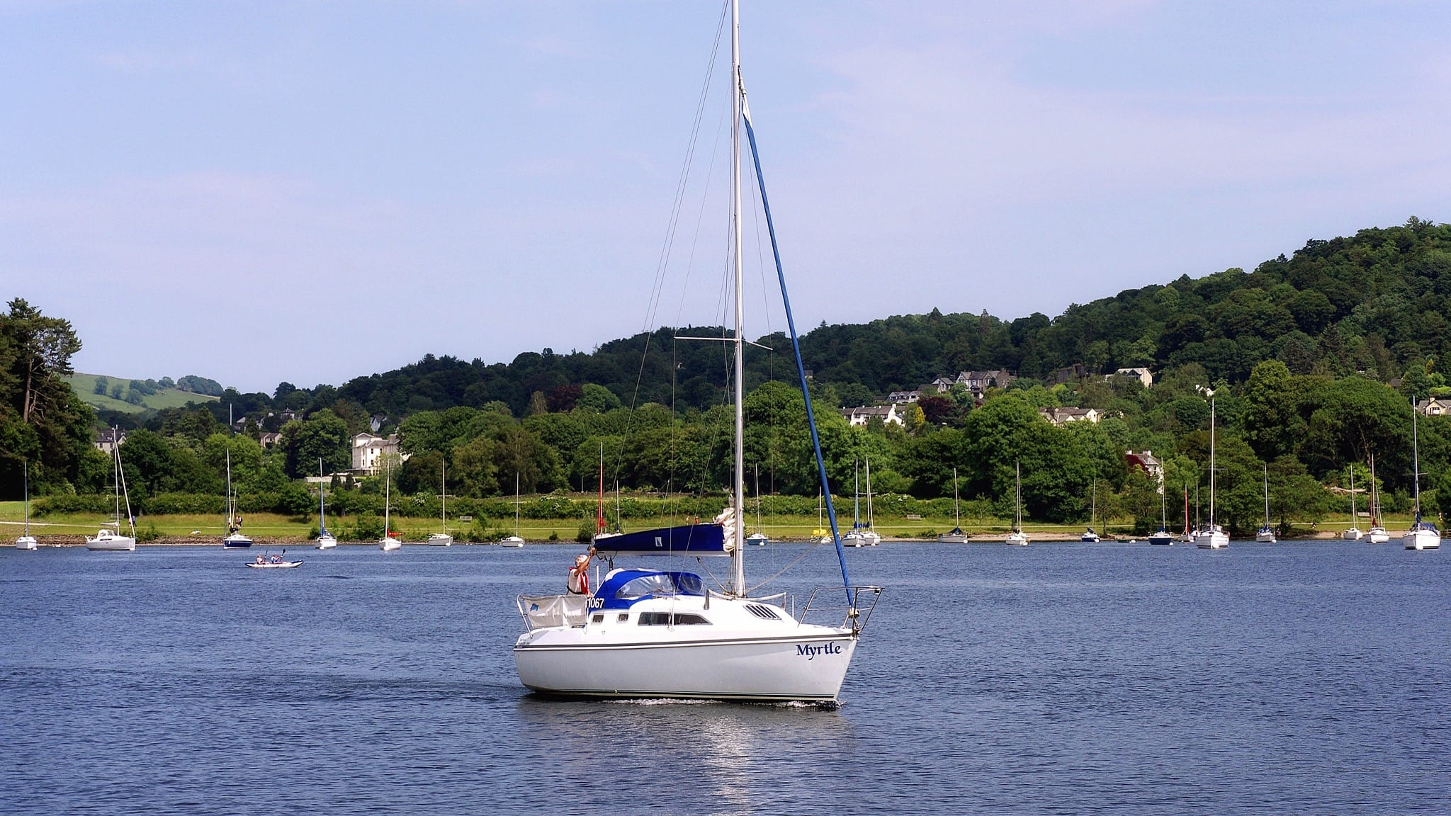 "The yacht ""Myrtle"" sailing south from Bowness. Photo by Matt Buck, licensed CC-BY-SA-3.0."