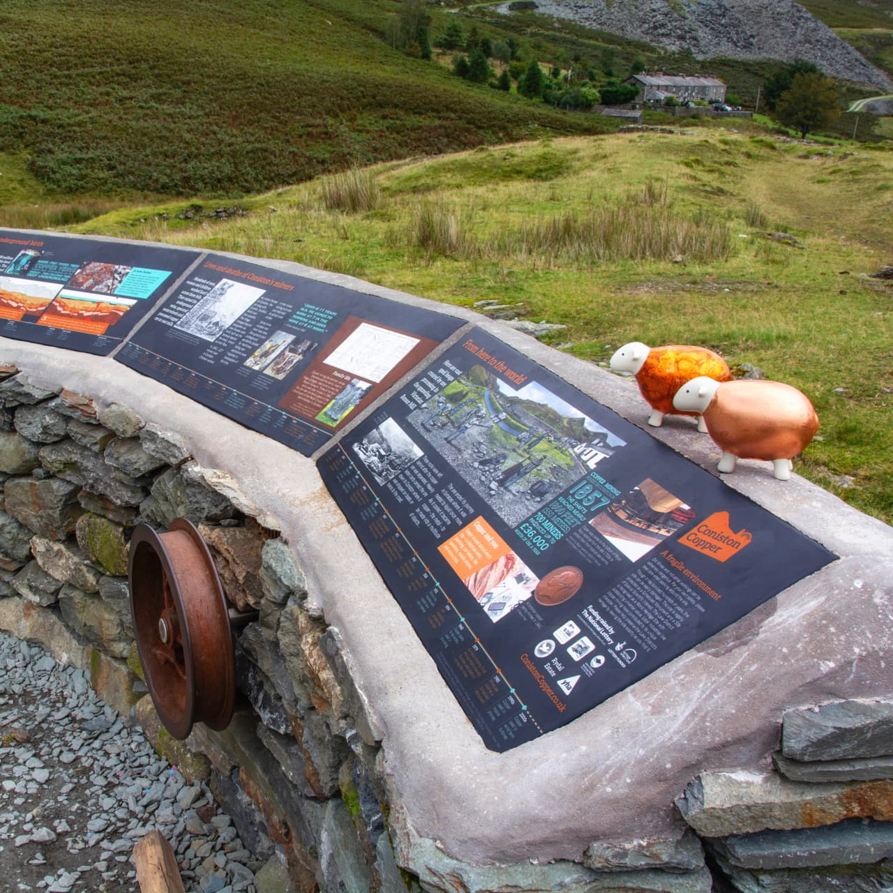 Two Copper Herdys perch on the tourist information boards about the Coppermine valley