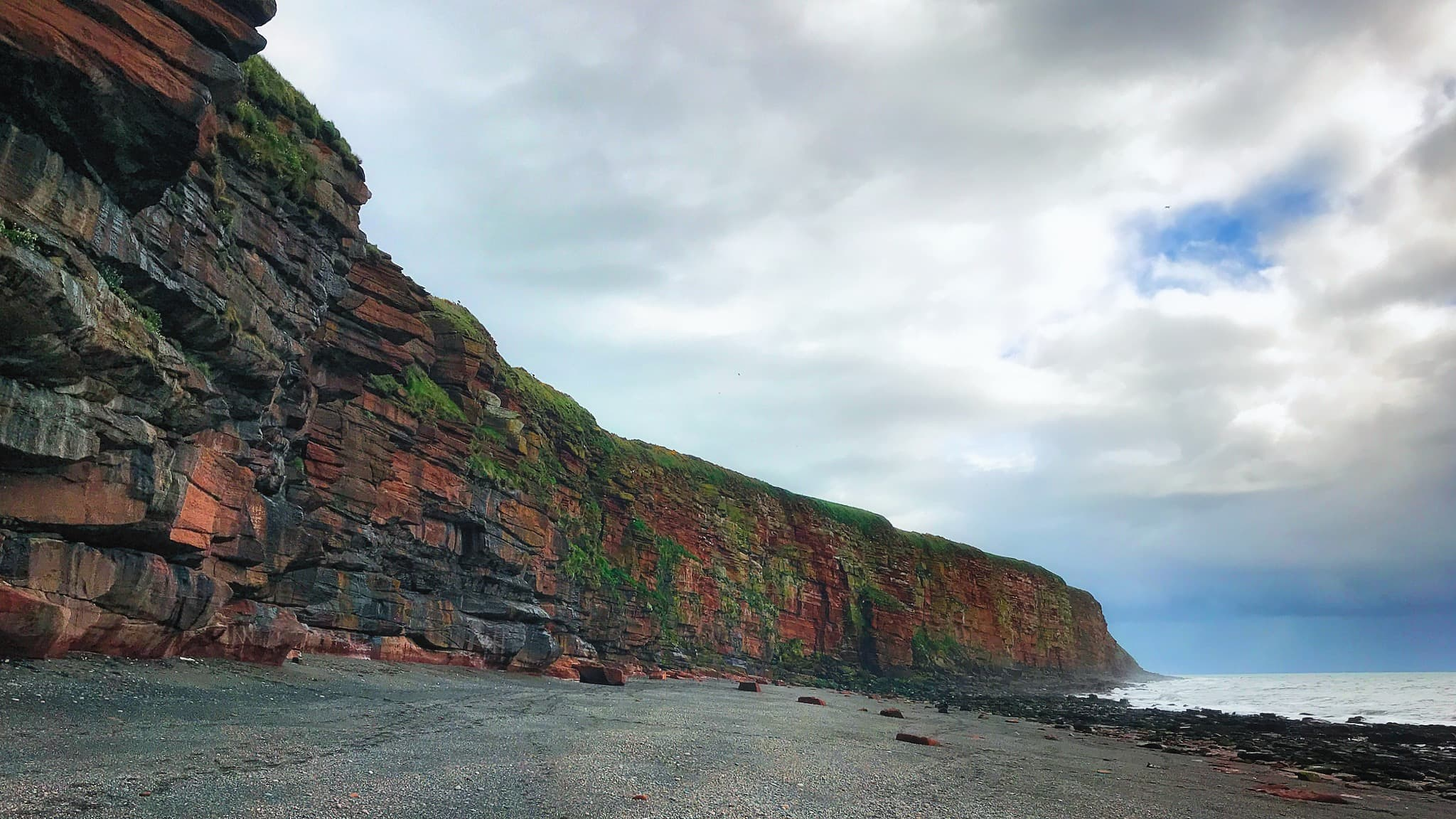 The cliffs of St. Bees head at Fleswick Bay on the Cumbrian Coast