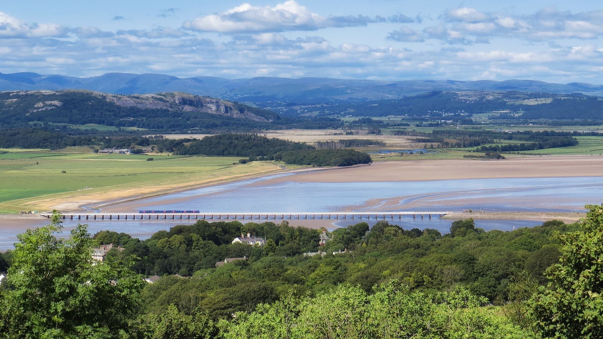 View over the Kent Viaduct to the southern Lake District from Arnside Knott. Photo by Alastair Rae, licensed CC-BY-SA-2.0