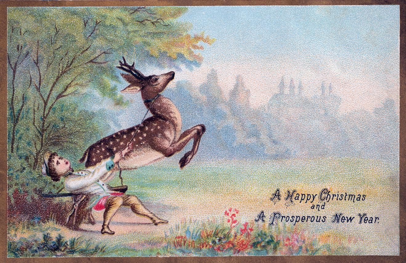 One of the first Christmas cards, back in Victorian England
