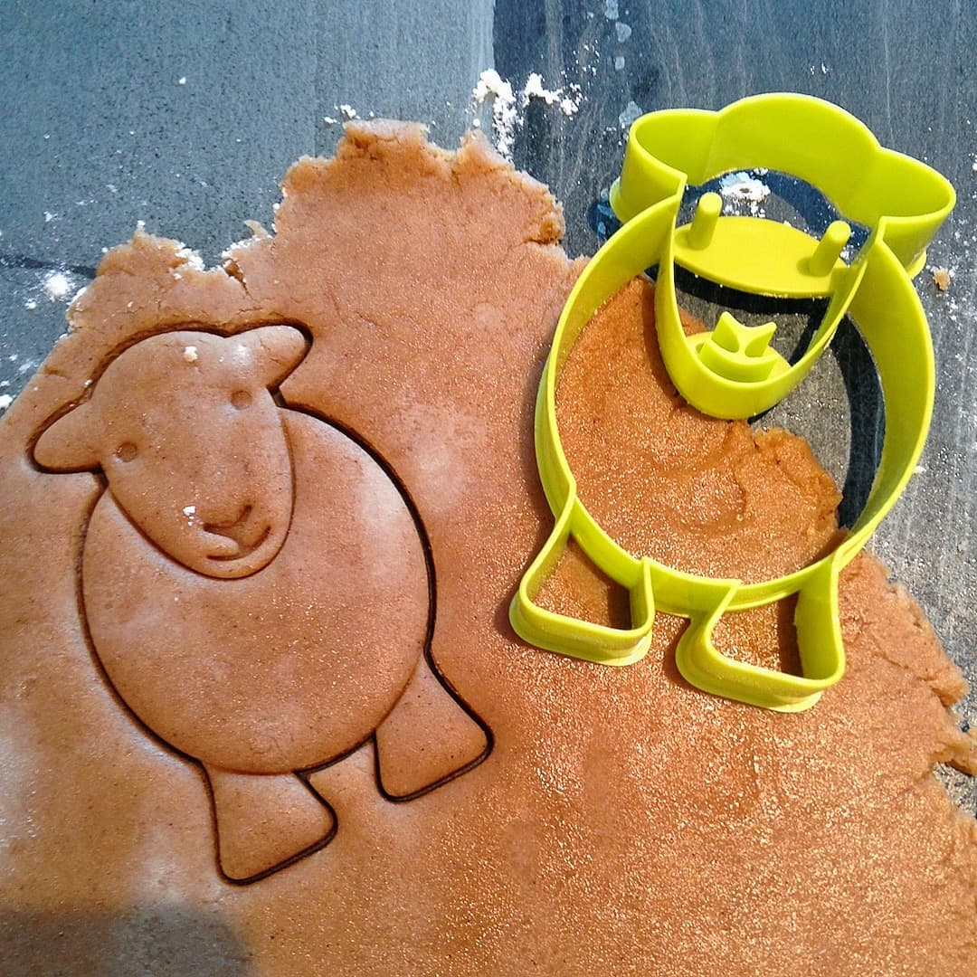 Use our Herdy Cookie Cutters to cut out Herdy Yan Christmas gingerbread biscuits