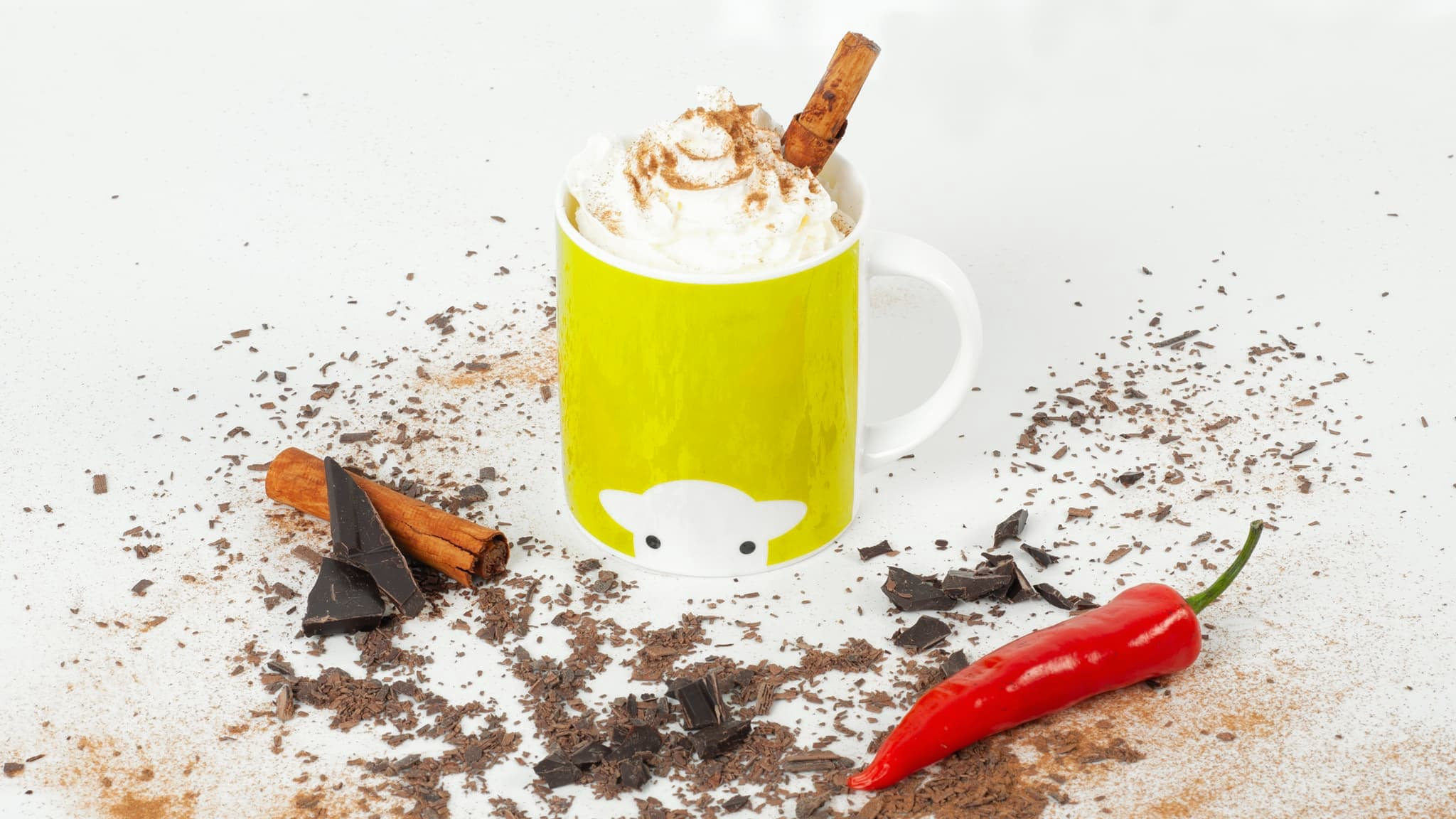 Chilli and chocolate work! This Mexican hot chocolate enjoys a nice hot kick from the cayenne pepper, which is tamed by whipped cream