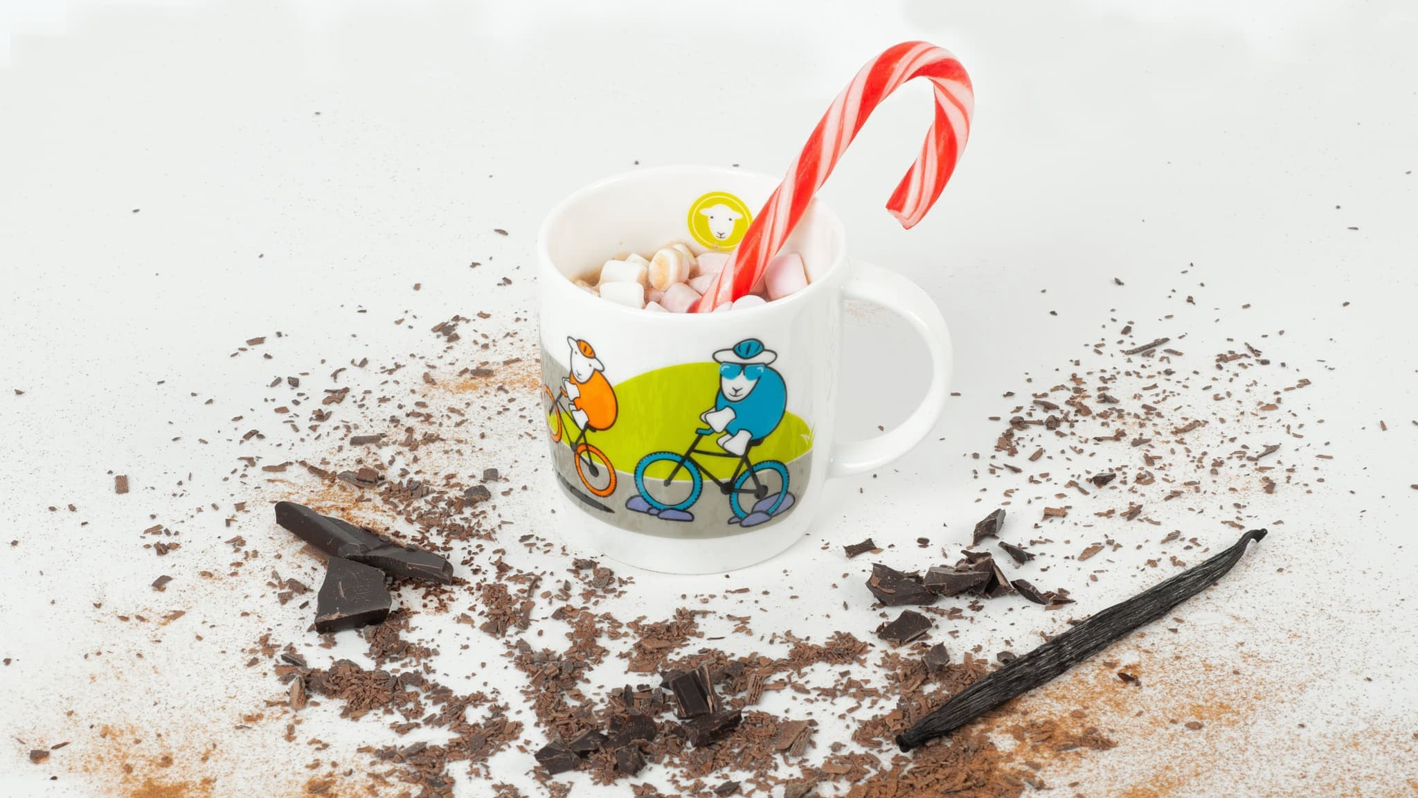 Minty fresh hot chocolate! Use peppermint schnapps and vanilla in a rich hot chocolate.