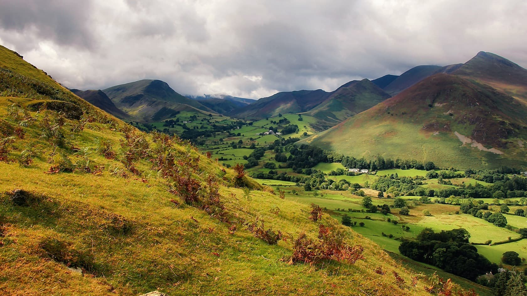 The view of the Newlands valley, looking northeast from the slopes of Cat Bells