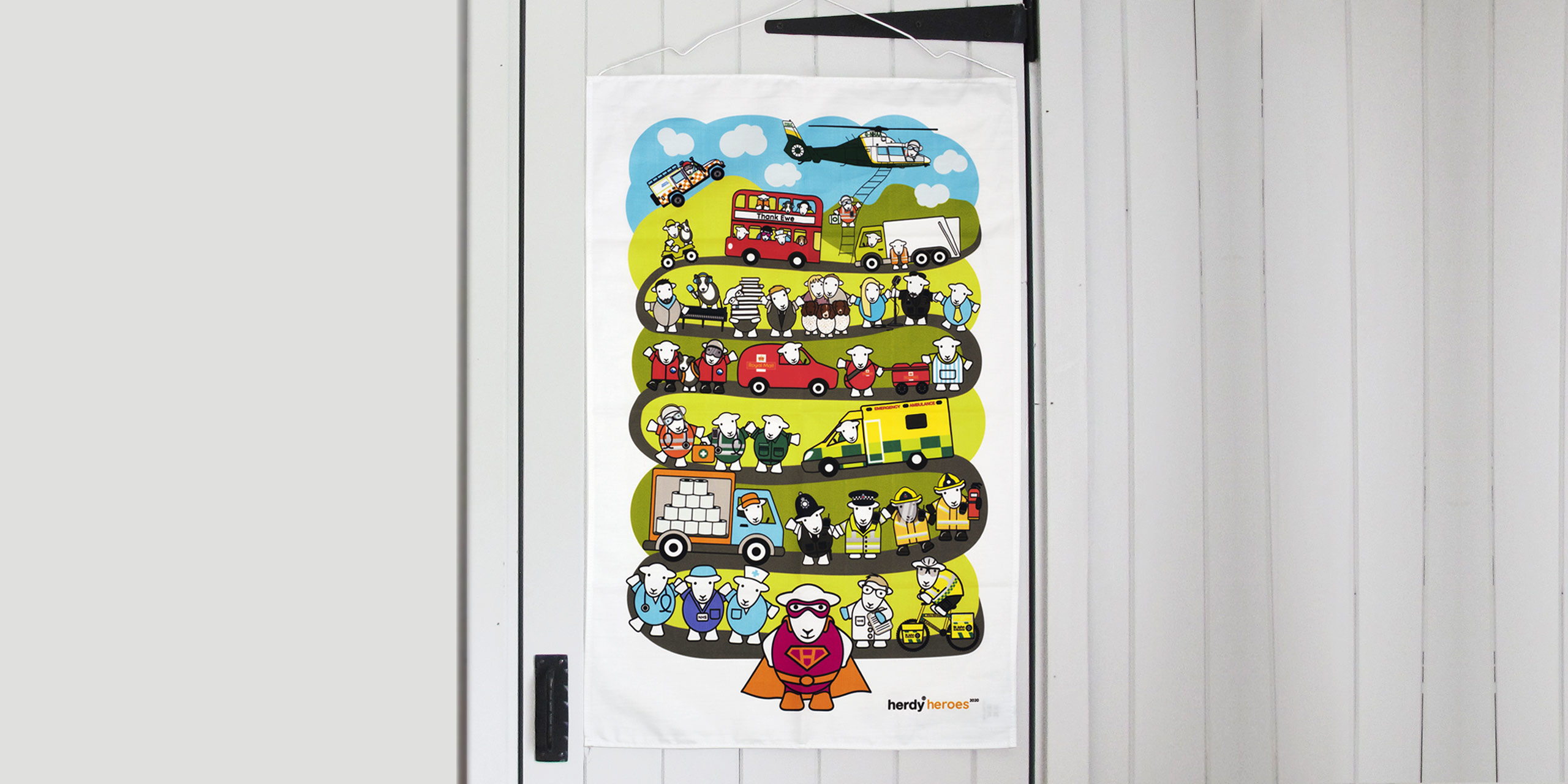 The Herdy Heroes Fundraiser Tea Towel