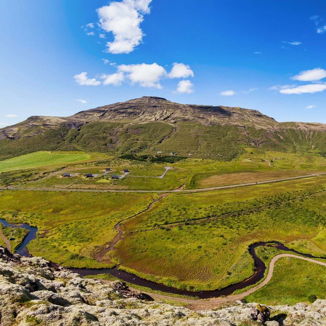 """Haukadalur is the home of many famous sights in Iceland; the name means """"Hawk Valley"""". Photo by Diego Delso, delso.photo, License CC-BY-SA"""