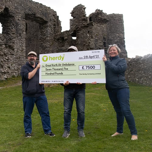 Herdy's £7500 cheque to the Great North Air Ambulance
